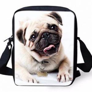 pug messenger bag motif