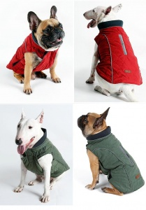 Water Repellent Quilted Dog Coat red and green