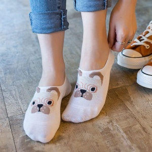 Dog Design Ankle Sock Slippers for Ladies