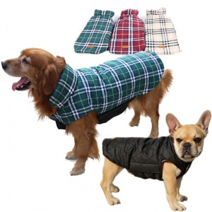 Windproof Reversible Warm Plaid Winter Dog Jacket